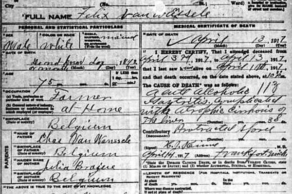 VW Felix 1917 death certificate 1024px